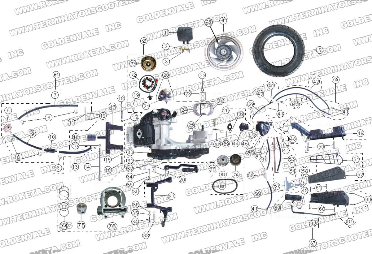 ROKETA MC-17-50 ENGINE AND REAR WHEEL ASSEMBLY PARTS