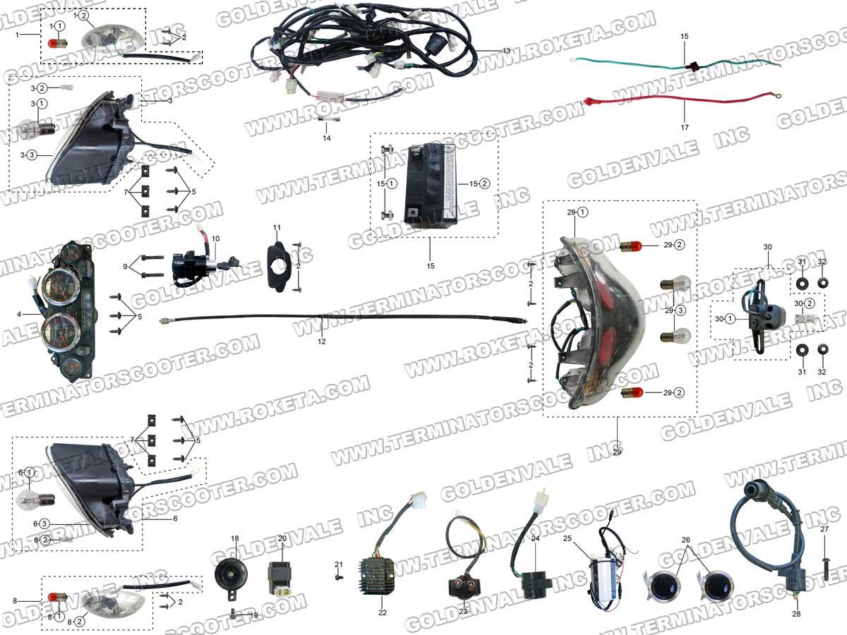 Roketa Mc 54 150 Electrical Parts