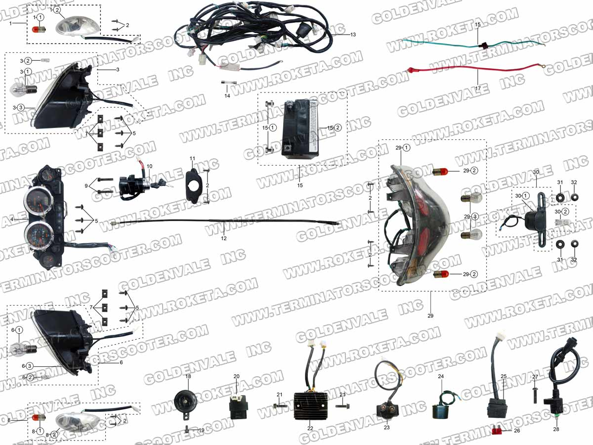 ROKETA MC-54-250 ELECTRICAL PARTS