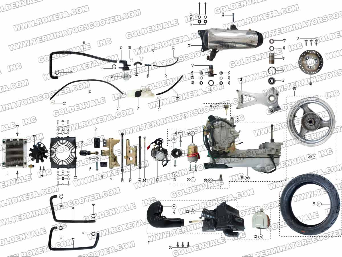 ROKETA MC-54-250 ENGINE AND EXHAUST PARTS