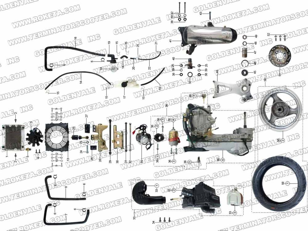 medium resolution of roketa mc 54 250 engine and exhaust parts roketa 250 scooter roketa 250cc mc 54