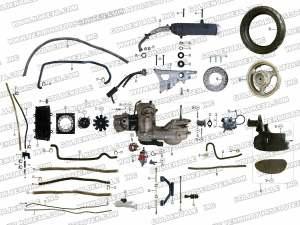 ROKETA MC54B250 ENGINE AND REAR WHEEL ASSEMBLY PARTS