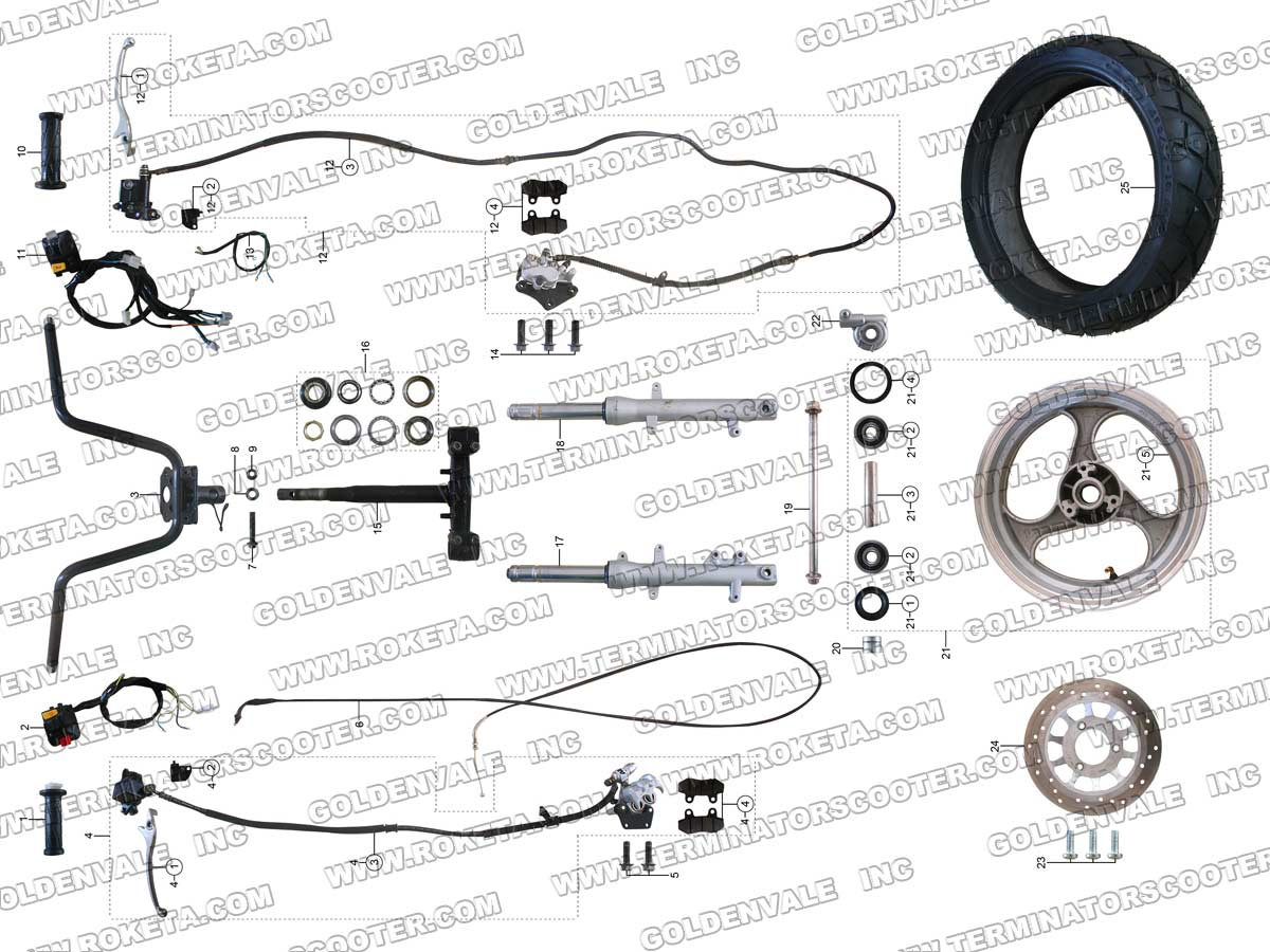 ROKETA MC-54B-250 STEERING ASSEMBLY PARTS