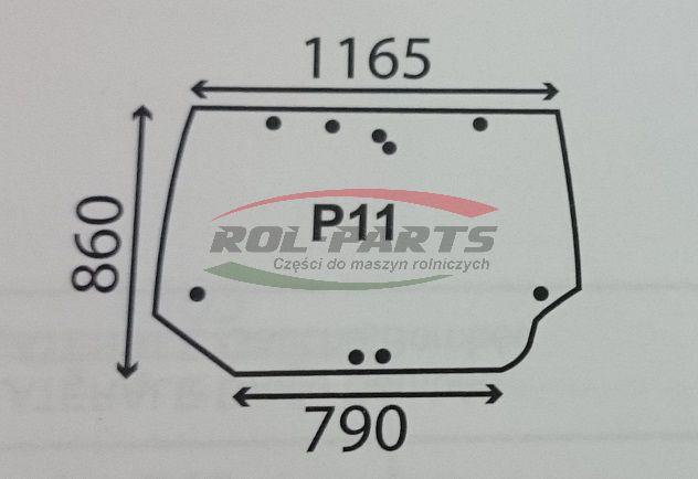 SZYBA TYLNA CASE MX/ CX 284947A1, 284947A2 Rol-Parts