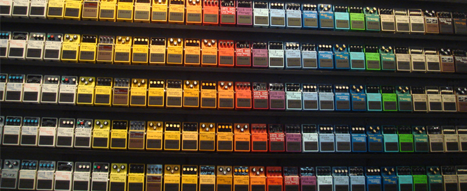 BOSS guitar stompbox wall