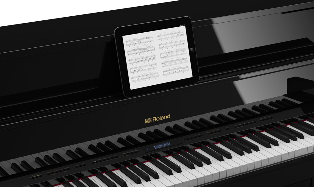 Digital sheet music on the Roland Piano Partner 2 app.
