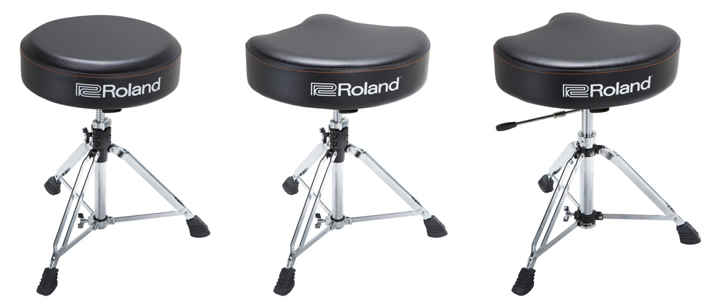 Roland accessories-new drum thrones with rugged vinyl seat tops.