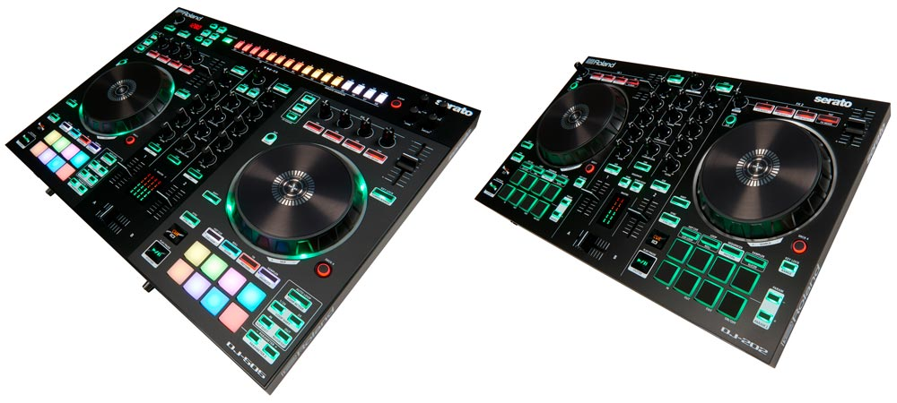 Roland DJ-505 (left) and DJ-202 DJ Controllers.
