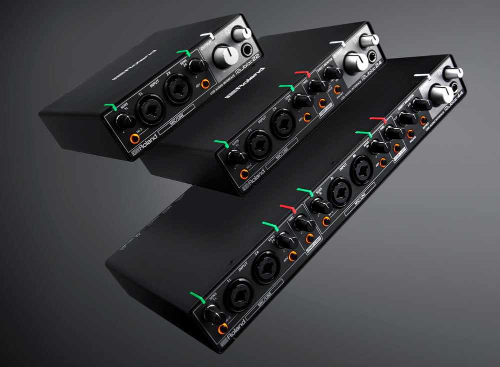 Roland Rubix Audio Interface Series: Rubix22, Rubix24, and Rubix44 (top to bottom).