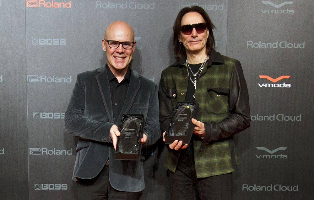Thomas Dolby (left) and Steve Vai.