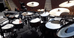 Ashton Irwin hybrid drum kit used on the Sounds Live Feels Live Tour. (L-R) SPD-SX Sampling Pad, PDS-128 V-PAD, TM-2 Trigger Module, PD-108 V-PAD, KT-10 Kick Trigger (not shown).