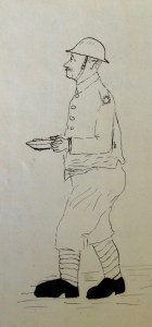 Private Morris, as drawn by Sherriff. Memories of Active Service, Vol 2, facing page 254. By permission of the Surrey History Centre (Ref: 2332/3/9/3/4)