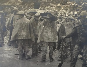 A Working Party packing up their shovels. From Memories of Active Service, facing page 275. By permission of the Surrey History Centre (Ref: 2332/3/9/3/4)
