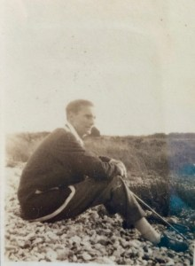 Sherriff, in Kingston Rowing Club blazer, on the beach at Selsey. By permission of the Surrey History Centre (Reference 3813/14/1/1)