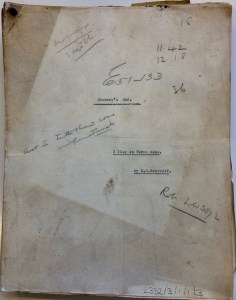 The earliest complete version of Journey's End. By permission of the Surrey History Centre (Ref: 2332/3/1/1/3)