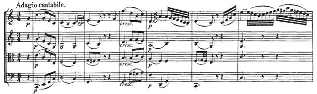 Beethoven, string quartet op.18/2, mvt.2, score sample, Adagio cantabile