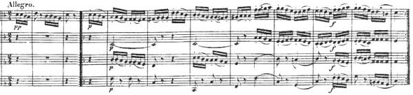 Beethoven, string quartet op.18/2, mvt.2, score sample, Allegro