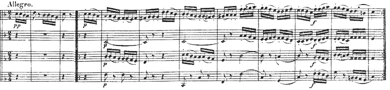 Beethoven, string quartet op.18/2, mvt.2, score sample, Allegro