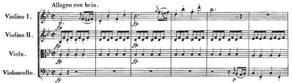 Beethoven, string quartet op.18/6, mvt.1, score sample