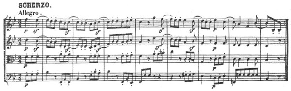 Beethoven, string quartet op.18/6, mvt.3, score sample, Scherzo