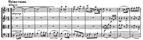 Beethoven, string quartet op.59/1, mvt.4, score sample