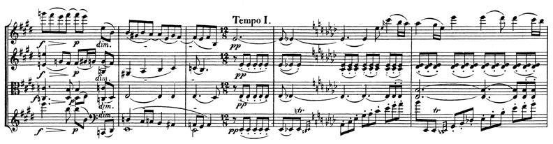 Beethoven, string quartet op.127, mvt.2, score sample, Tempo I