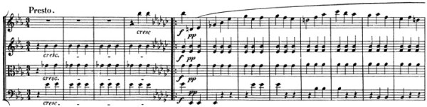 Beethoven, string quartet op.127, mvt.3, score sample, Presto