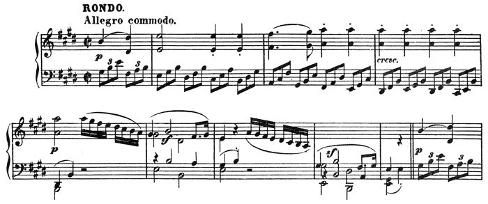 Beethoven, string quartet op.14/1, mvt.3, score sample