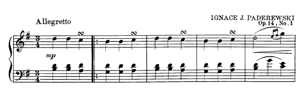 Paderewski: Menuet célèbre, theme