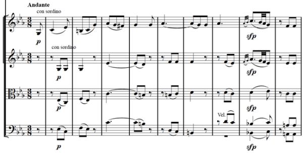 Mozart: Piano concerto K.482, mvt.2, score sample