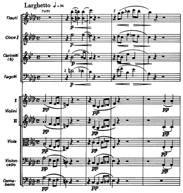 Chopin: piano concerto No.2 F minor, op.21, score sample, mvt.2, beginning
