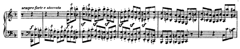 Beethoven, piano sonata No.22 F major, op.54: mvt 1, theme #2, score sample