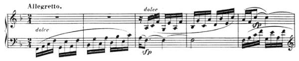 Beethoven, piano sonata No.22 F major, op.54: mvt 2, Allegretto, score sample