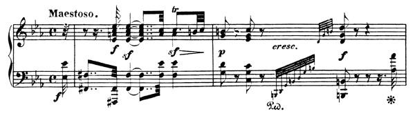 Beethoven, piano sonata No.32 C minor, op.111: mvt 1, score sample 1: Maestoso
