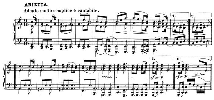Beethoven, piano sonata No.32 C minor, op.111: mvt 2, score sample 1: Arietta