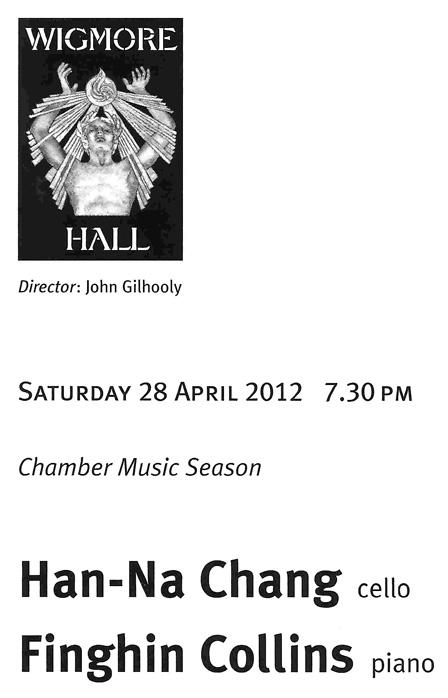 Concert program, Wigmore Hall, 2012-04-28