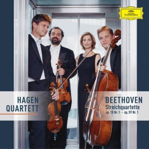Beethoven, string quartets opp.18/1 & 59/1, Hagen Quartett, CD cover
