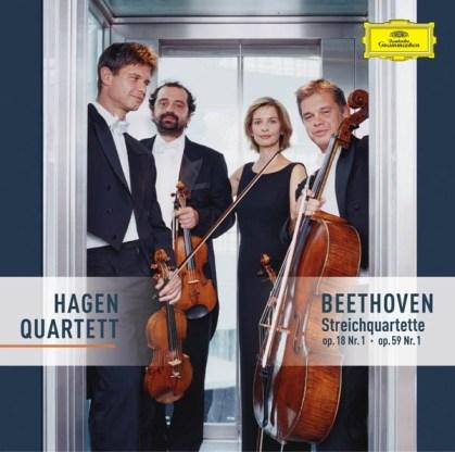 Beethoven, string quartets opp.18/1 & 59/1, Hagen Quartett, CD cover