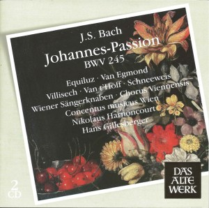 Bach, St.John Passion, Harnoncourt, Equiluz, CD cover