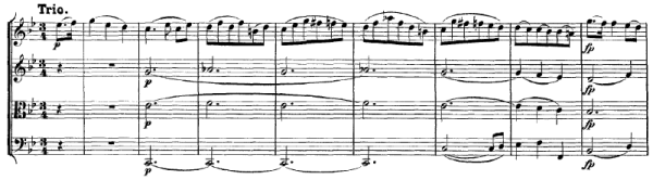 Mozart: String quartet K.428, mvt.3, score sample, Trio