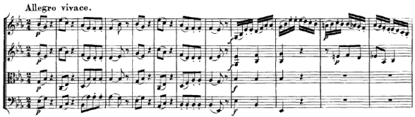 Mozart: String quartet K.428, mvt.4, score sample