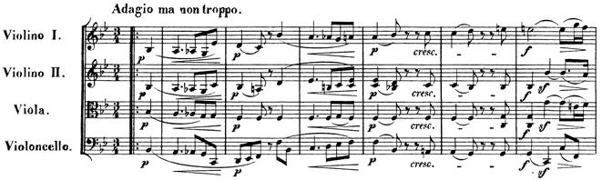 Beethoven, string quartet op.130, mvt.1, score sample, Adagio, ma non troppo