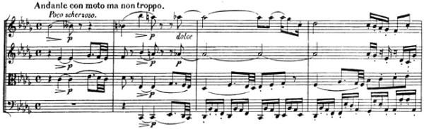 Beethoven, string quartet op.130, mvt.3, score sample