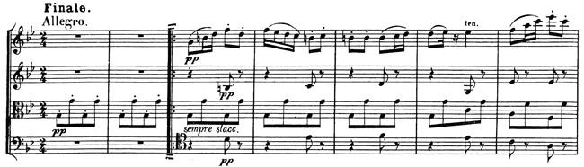 Beethoven, string quartet op.130, mvt.6, score sample, Finale: Allegro