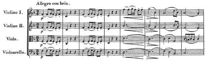 Beethoven, string quartet op.18/1, mvt.1, score sample