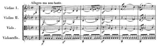 Beethoven, string quartet op.18/4, mvt.1, score sample