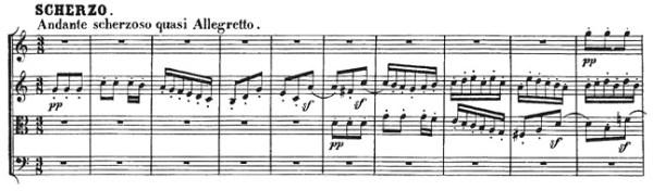 Beethoven, string quartet op.18/4, mvt.2, score sample