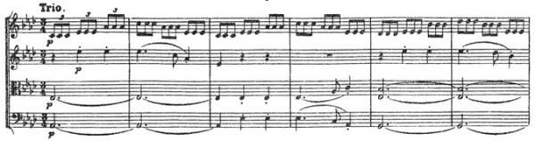 Beethoven, string quartet op.18/4, mvt.3, score sample, Trio