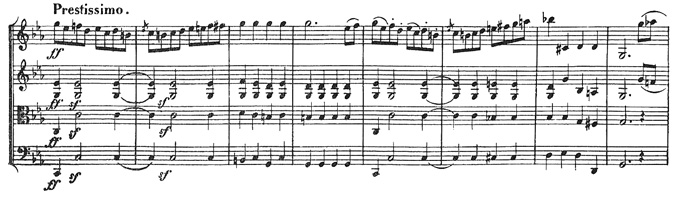 Beethoven, string quartet op.18/4, mvt.4, score sample, Prestissimo