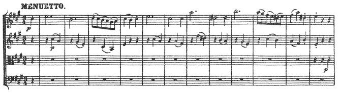 Beethoven, string quartet op.18/5, mvt.2, score sample, Menuetto